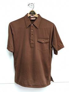 Vintage 1970s Brown Polyester Disco Shirt Large